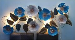 Metallic Net Flower and petal Wall Art with Back Light Blue Colored Powder Coated
