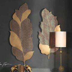 Long Metal Leaf With Gold Powder Coated Finish