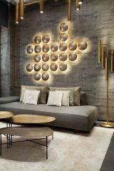 One Piece Wall Sculpture Made of Round  Plates Back Light