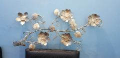 Floral Wall Metal Art With Spiral Buds Gold Finish