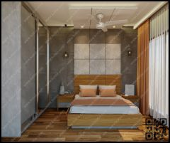 bed back with wallpaper and designer wall light