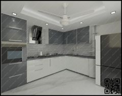 L-Shaped Kitchen with profile shutters