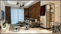 Soft Living Room design white and wood combination